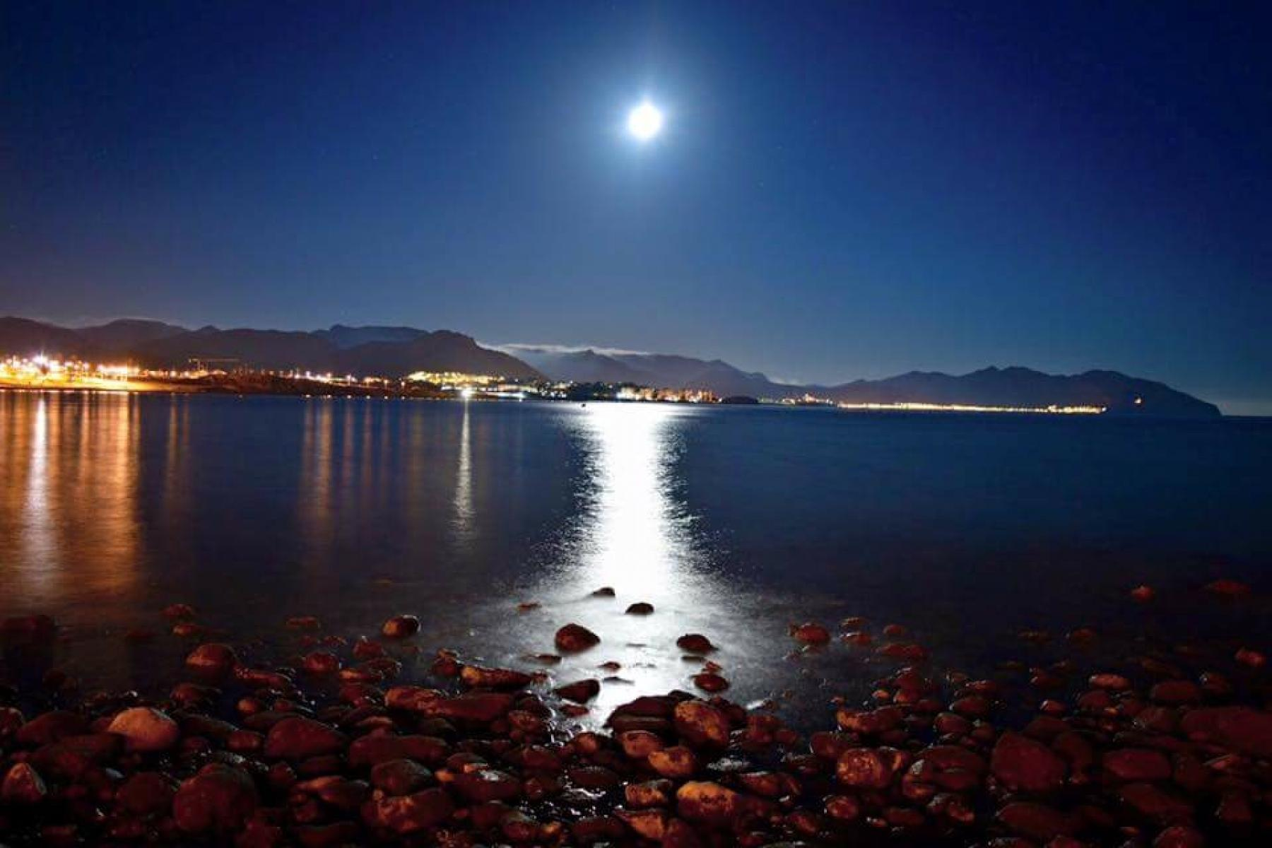 Moonlight across the bay of Mazarron